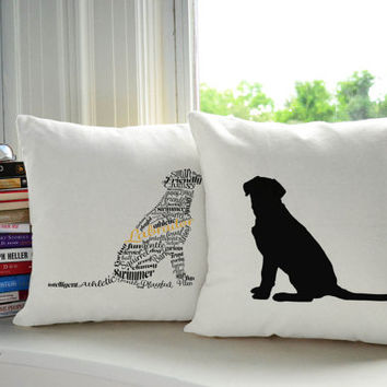 Typography Lab Dog Pillow Covers and or Cushions - Pet Pillow - Dog Silhouette Labrador Retriever - Puppy Room Decor