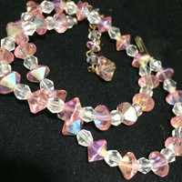 Pink Aurora Borealis Bead Necklace, Faceted Glass Beads 15.5in Choker,  Mid Century Bridal Jewelry 518m