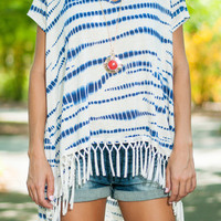 Make Me Fringe Top, Blue