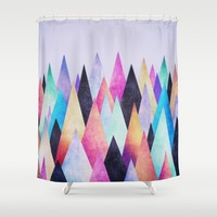 Colorful Abstract Geometric Triangle Peak Wood's Shower Curtain by Badbugs_art
