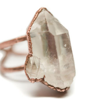Uber Copper Crystal Ring // Copper Quartz Cluster Raw Crystal Adjustable Statement Ring