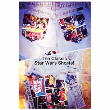 Classic Starwars Shorts. Made4U. Cuffed or Frayed Jean shorts. All sizes ladies, girls. Starwars comic strip fabric. Must Have 4 movie nite.