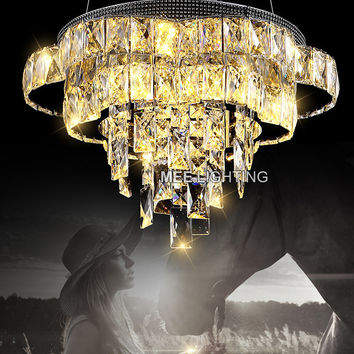New Arrival Led Crystal Pendant Light Fixture Modern K9 Crystal Pendant Drop Led Lamp Art Deco Cristal Illumination Living Room