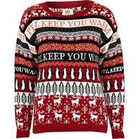 Red festive fairisle jumper
