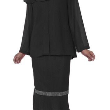 Hosanna 3976 Black Tea Length 3 Piece Plus Size Dress Set