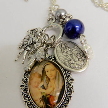 Religious Necklace  Virgin Mary  Pendant St Michael  Jesus Christ Charm Silver Chain Necklace