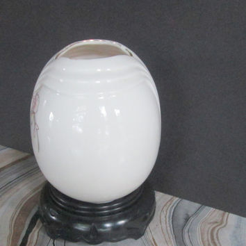Fine China Round  White Flower Vase with Pink Orchids Made in Japan Vintage 1980s