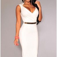 new arrivals 2015 fashion women's deep V neck fitness club party evening bandage bodycon dresses white black red celebrity vestidos robes femme = 1956808772