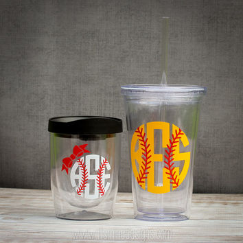 Baseball or Softball Monogram Mason Jar Acrylic Cup, Tumbler, or Wine Glass. Personalized Custom Bow Monogram Tumbler - Many Cup Styles!
