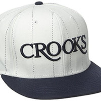Crooks & Castles Men's Woven Snapback Cap - Serif, White/Navy, One Size