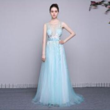 Scoop Neck Sleeveless Tulle A Line Long Prom Dresses Sky Blue Sequined Sashes Floor Length Prom Dress