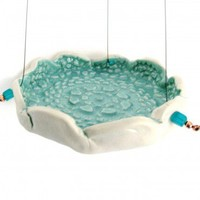 Lacy Turquoise Porcelain Hanging Bird Feeder or Bird Bath RKC064 | richknobsales - Housewares on ArtFire