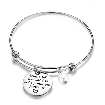 ENSIANTH Stepdaughter Bracelet Today I Tell Your Dad I Do And I Promise You Forever Too Bracelet Wedding Gift Blended