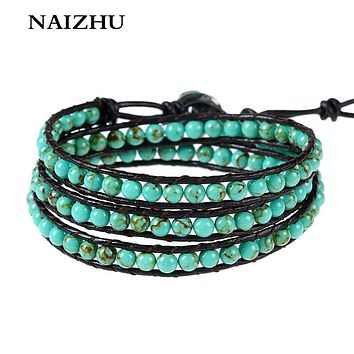 Boho Style Multilayer Leather Chain bracelet for men and women Fashion Charm Natural Stone Beads Bracelet