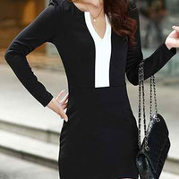 Black Long Sleeve Bodycon Mini Dress