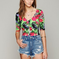 Free People Printed Ballet Crop Top