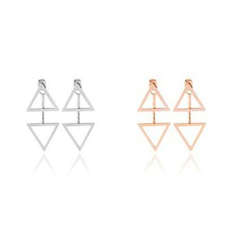 Womens 925 Silver Double Triangle Stud Earrings +Gift Box