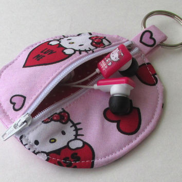 Hello Kitty Circle Earbud Holder Pouch / Valentine's Day Coin Purse / Hearts