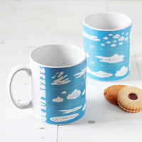 Sky Blue Cloud Types Mug. Educational Geek Ceramic Cup. Science