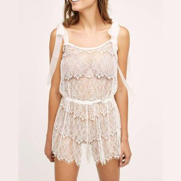 DCCKU62 Ruffled Lace Romper  Boudoir Honeymoon Lingerie Comfy Sleepwear Pjs ultimate Nightie Cami Set