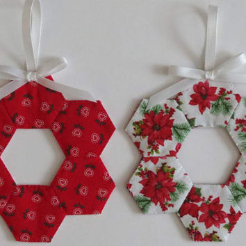 Two (2) Christmas Tree Ornaments, Decorations, English Paper Pieced Hexagons, White Red