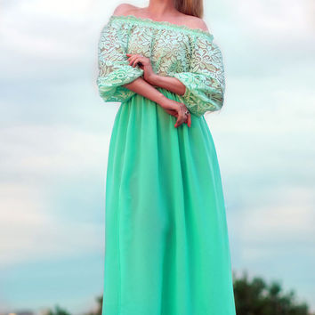Mint summer Dress, maxi off shoulder dress plus size, casual summer dress, lace summer long dress, short sleeve Mint dress, summer 2016