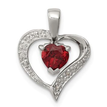 Sterling Silver Garnet & Diamond Heart Pendant