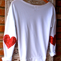 "Sequin Heart Elbow Patch - ""Dazzle Patch"" Sweatshirt w/ Red Heart Sequin Elbow Patch - Valentine's Day Sale"
