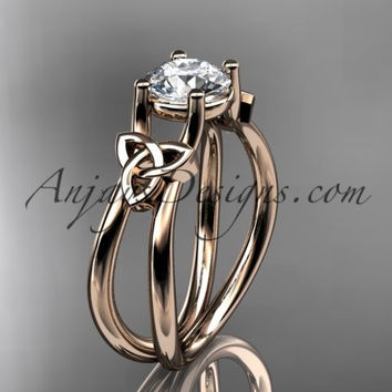 "14kt rose gold diamond celtic trinity knot wedding ring, engagement ring with a ""Forever One"" Moissanite center stone CT7130"