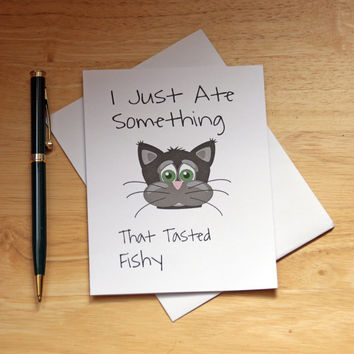 Naughty Card, Dirty Card, Cat Note Card, Tasted Fishy, Funny Card, Sarcasm, Adult card, Card For Girlfriend, Card For Wife