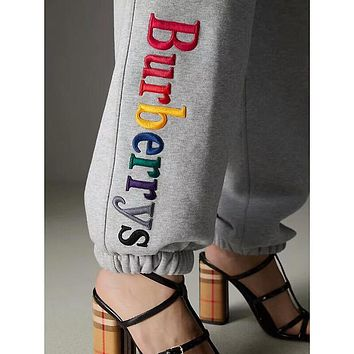 """Burberry""Popular In The World Women Personality Colorful Letter Embroidery Drawstring Sport Stretch Pants Trousers Sweatpants I-ZYHFS"