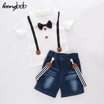 2016 new baby boy clothing set summer style children 2 pcs short sleeve t shirt + denim shorts from babies to teens formal suit
