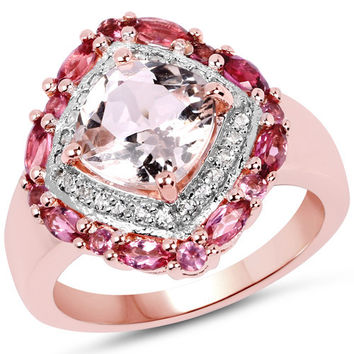 14K Rose Gold Plated 3.11 Carat Genuine Morganite, Pink Tourmaline & White Topaz .925 Sterling Silver Ring