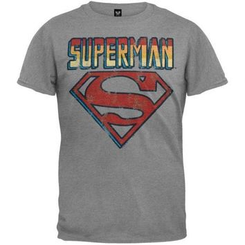 Superman   Name And Logo Soft T Shirt = 1946281348