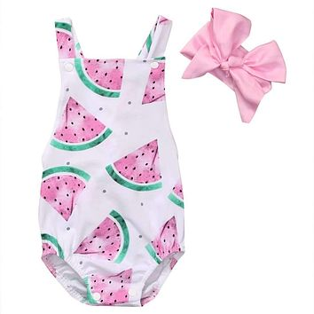 Baby Girls' Watermelon Romper with Bow Tie Headband