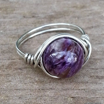 Charoite Ring, Silver Wire Wrap Ring, Natural Purple Gemstone Ring, Boho Hippie Ring, Purple Stone Wrap Ring Gift for Her Silver Purple Ring