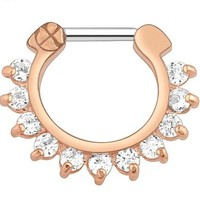 16G IP Rose Gold With Clear Gem Pronged Septum Clicker Ring