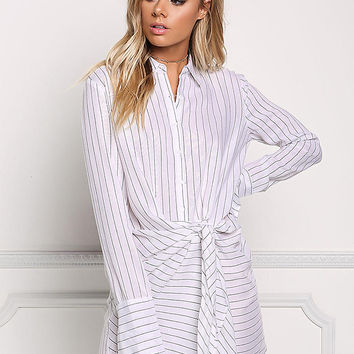 White Stripe Collared Tie Front Shift Dress