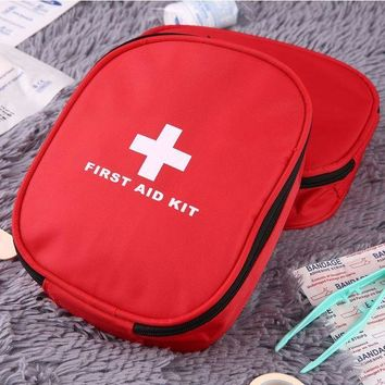 ONETOW Outdoors Nylon Waterproof Emergency Medical Bag Home Camping First Aids Kits Bag Rescue Pouch Waist Hanging Cross Zipper Pockets