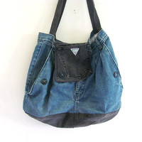 Vintage 1980s recycled denim jeans purse tote / Guess Jeans Bag