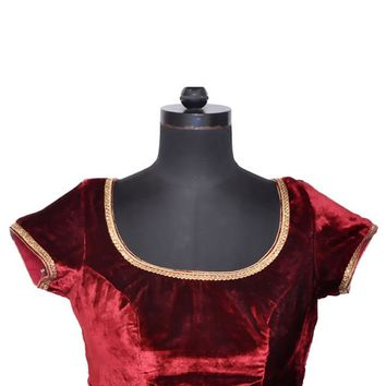 Maroon Velvet Ready-made Indian Sari Saree Blouse - X 101 SL