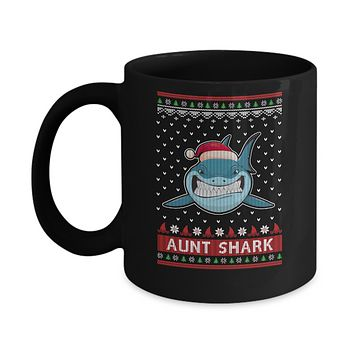 Santa Hat Aunt Shark Ugly Christmas Sweater Mug