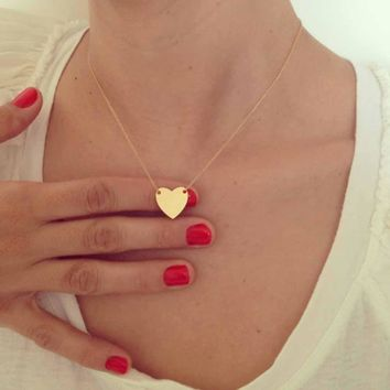 TOMTOSH 2017 Gold Tiny Heart Necklace, Gold Romantic Necklace, Friendship Necklace,Petite Necklace