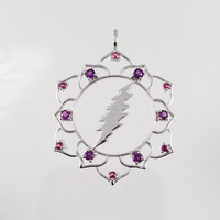 Grateful Dead, Lotus Flower & 13 Point Bolt Pendant with 12 Amethysts and Rhodolite Garnets in Sterling Silver, Sacred Geometry