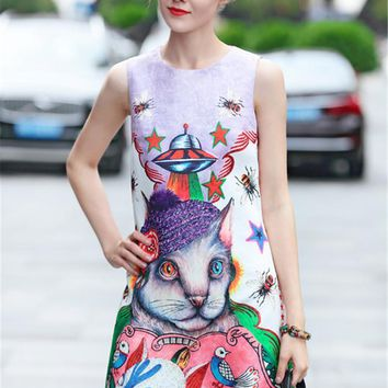 fashion cat print top quality New Luxury Women Dress famous brands Fashion Designer Women dresses Party dress