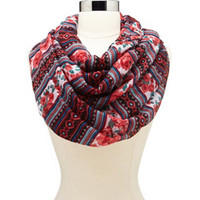 MIXED FLORAL & TRIBAL PRINT INFINITY SCARF