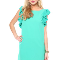 Royal Ruffle Shift Dress