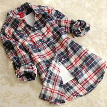 New Simple & Basic Style Girls' Cotton Plaid Blouse Long Sleeves Lapel Shirt Fashion Classic Blouse