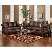 Exceptional Designs Living Room Set in Taos Mahogany Leather