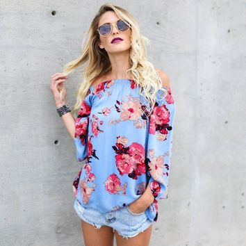 Floral Off Shoulder Strapless Long Sleeve Top